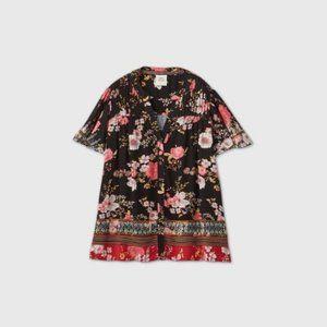 Knox Rose™ Black Flutter Short Sleeve Blouse New